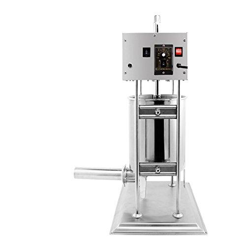 Cueffer Máquina Eléctrica de Hacer Salchichas Embutidora Eléctrica de Salchichas de Acero Inoxidable de Grado Alimenticio Rellenadora de Salchichas con 4 Embudos de Llenado (10L)