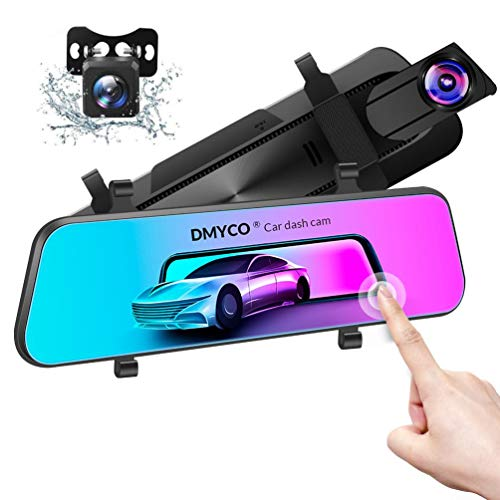Mirror Dash Cam for Cars Front and Rear【GPS Included】, DMYCO 10' 2.5K Dual Lens Car Camera Rear View Mirror Camera with External GPS, Super Night Vision, Sony Sensor, Parking Assistance