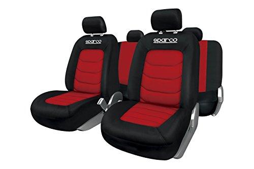 Sparco SPC1019RS Set Coprisedili per Auto, 11 Pezzi, S-Line, Rosso