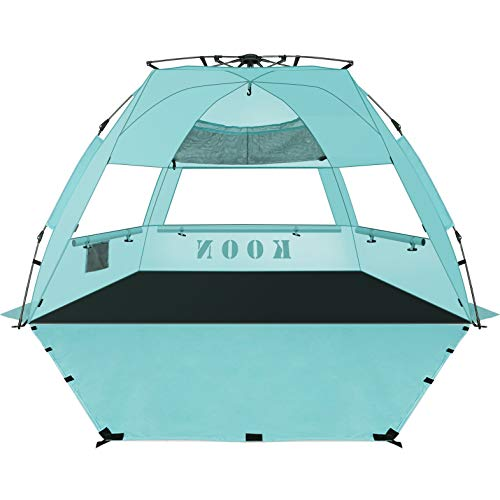 KOON Beach Tent Sun Shelter Pop Up - Easy Setup Beach Shade for 3-4 Person with UPF 50+ Protection, Extended Floor & 3 Ventilation Windows (Water Blue)