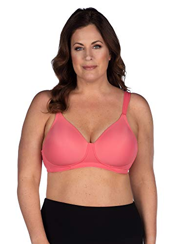 LEADING LADY Women's Plus-Size Underwire Padded T-Shirt Bra, Sun Kissed Coral, 52DD