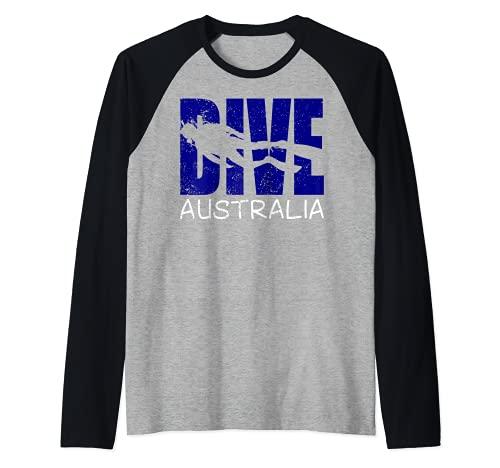 Hombre Buceo Australia Diversión Buceo Aventuras Para Hombres Buzos Camiseta Manga Raglan