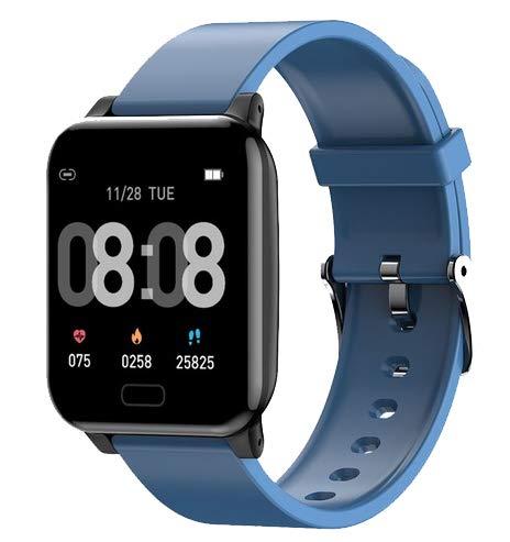 INDYGO L8 Pulsera Inteligente IP67 Reloj Banda Inteligente con Medición de la Piel y Tlemperatura Corporal Ritmo Cardíaco Azul