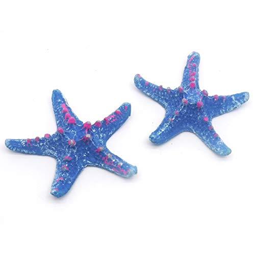 NGe 2pcs Polyresin Aquarium Fish Tank Artificial Emulational Starfish Sea Star Shape Ornament Blue Polyresin Realistic Starfish Fish Tank for Fish Tank Decorations(Small Blue