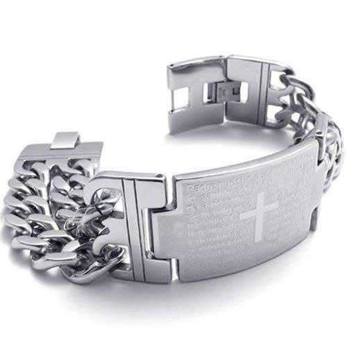 Konov - Pulsera para hombre, con cruz cristiana y oración, de acero inoxidable, con cadena, con bolsa de regalo, color plateado