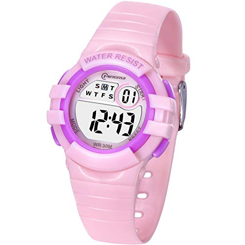 Kinderuhr Digitale für Jungen Mädchen,Wasserdicht Kinder Armbanduhr Sport LED Multifunktions mit Alarm/12/24H/Stoppuhr Weicher Gurt Armbanduhr für Jungen, Mädchen Alter 4-13 als Geschenk