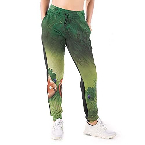 LAOLUCKY Pantalones deportivos para mujer con bolsillos ligeros y deportivos, Champiñón Wonderland Césped Verde Blanco, XL