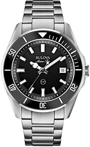 Bulova Marine Star 98B203 - Reloj de Pulsera de Diseño para Hombre - Resistente al Agua - Acero Inoxidable - Esfera Negra