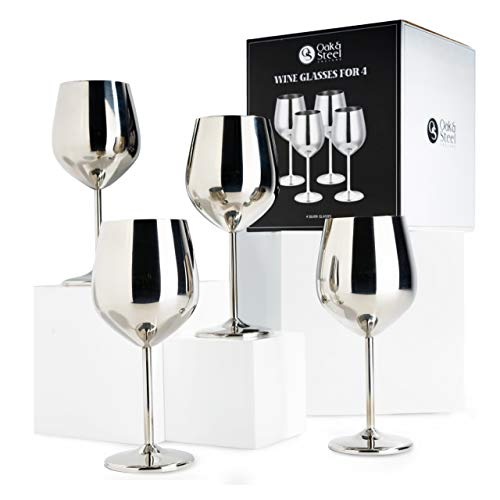 4 Copas de Vino Elegantes de Acero Plateado, 540 ml | Durable Irrompible y sin BPA | Copa de Vino Tinto de Metal para Acampar Al aire libre Cumpleaños Navidad Bohemia Fiestas | en Caja de Regalo.