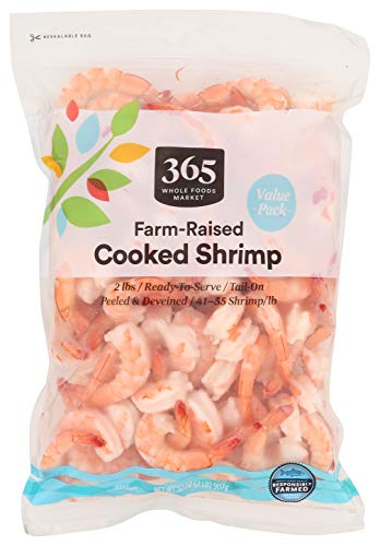 365 Everyday Value, Farm-Raised Seafood Value Pack, Cooked Shrimp, Tail-On - Peeled & Deveined (41-55/lb), 32 Ounce (Frozen)