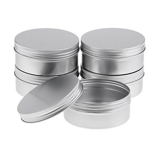 SM SunniMix Boîte à Lèvres Vide Pot de Crème Cosmétique Récipient de Cosmétique avec Couvercle - argent, 250ml 5pcs