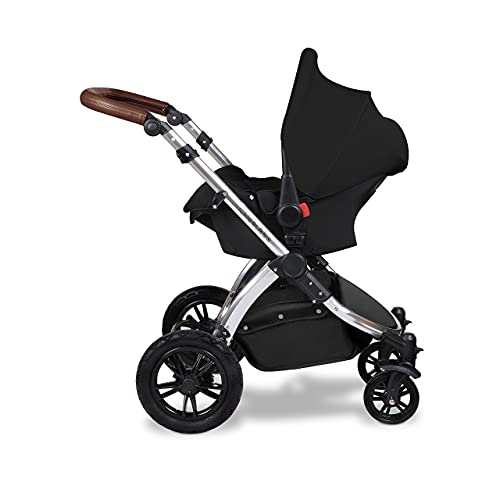 Ickle Bubba Stomp V3, All in one Travel System, Includes carrycot, Reversible Pushchair, and Galaxy Group 0+ car seat with ISOFIX Base (Black with Tan Handles)