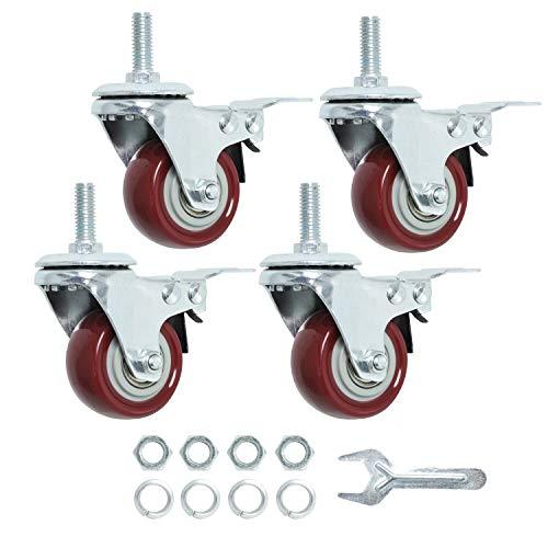 Finnhomy Swivel Caster Wheels 2 Inch Heavy Duty Threaded Stem Casters 3/8