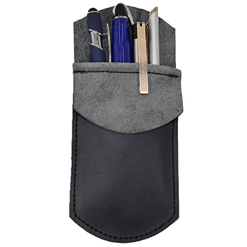 Hide & Drink, Durable Leather Pocket Protector, Pencil Pouch, Pen Holder, Office & Work Essentials, Handmade Includes 101 Year Warranty :: Charcoal Black
