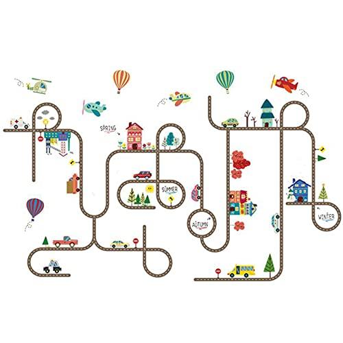 Jcnfa-pegatina de pared Infantil del Laberinto De Dibujos Animados, Papel Tapiz Autoadhesivo para La Habitación Infantil/Dormitorio De Niño, El Jardín De Infantes(Size:34.64 * 55.11in,Color:Edificio)