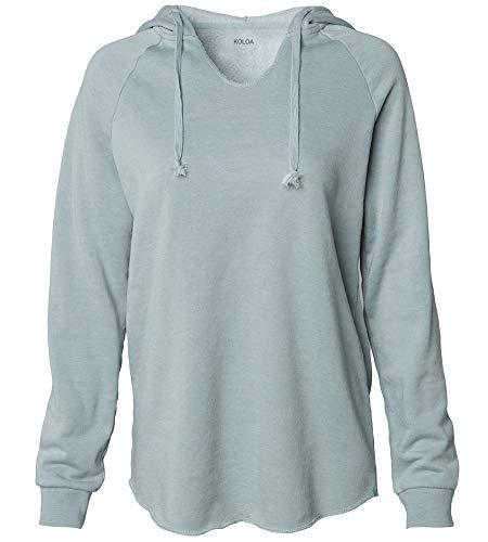 Koloa Surf Women's Lightweight California Wavewash Hooded Pullover Sweatshirt-XL-Sage