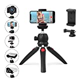 Polarduck Mini Trepied, Trepied Smartphone, Trepied Appareil Photo, Trepied Telephone pour iPhone/Samsung/GoPro/, Tête pivotante à 360 & Jambes Extensibles, Support de Téléphone et Adaptateur Gopro