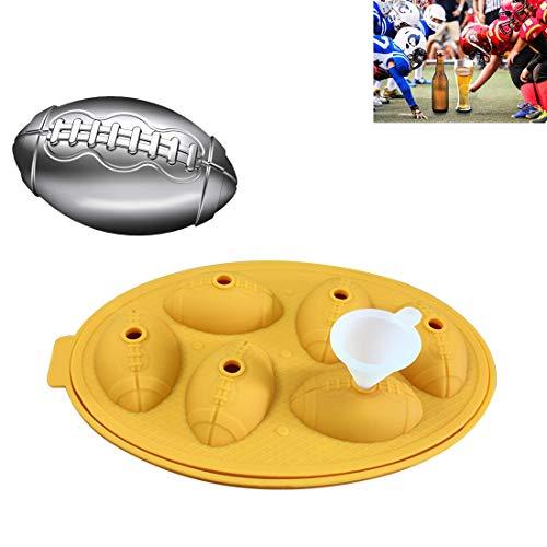 Eiswürfel-Form-Hersteller Rugby-Form-Silikon Tabletts Schokoladen-Form-Küche-Werkzeug 3D-Stab-Partei QiuGe (Color : Yellow)