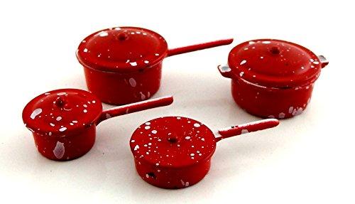 Melody Jane Accesorio de Cocina Miniatura Casa de Muñecas Rojo Metal Cacerolas Pan Juego 2106R