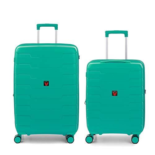 RONCATO Skyline - Juego de 2 maletas rígidas expandibles (medio + cabina) Menta