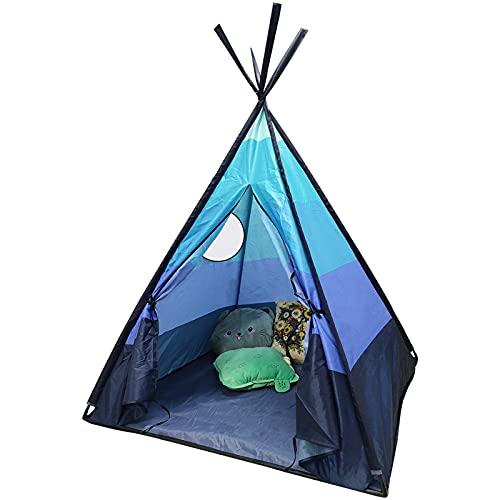 Tipi Infantil Tipi Indio para ninos de Poliéster Tienda Campaña Portátil para Interiores y Exteriores,110x110x152 cm (Azul Claro)