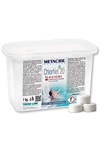 Metacril CHLOR Net 20 4 Azioni 1 kg - Cloro Piscina MULTIAZIONE in pastiglie da 20gr-...