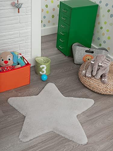 Lina Shape - Alfombra moderna de pelo largo y pelo largo para habitación infantil, muy suave, piel sintética, mullida, aspecto de piel, estrella, lavable hasta 30 grados, color gris, 80 x 80 cm
