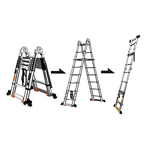 Xinmier Aluminum A-Frame Telescopic Ladder Extension Extend Portable Ladder Foldable Ladder Multi Purpose with Safety Stabilizing Bar,Load 150kg (Size : 5.8m/19ft(2.9m+2.9m))