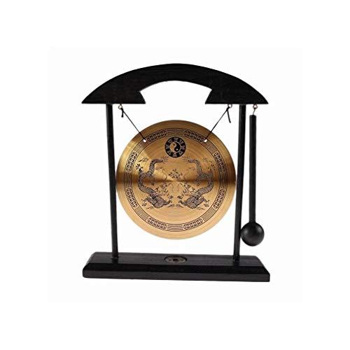 Gong auf Sockel, Schwarz und Gold., 22x20x8cm