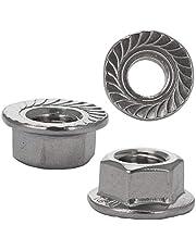 FASTON Tuercas de brida con dentado de bloqueo, de acero inoxidable A2, tuercas hexagonales con brida de brida DIN 6923.