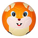 BORPEIN Ballon de Football Pro Mini, Ballon de Mousse de Style Animal de 6 Pouces pour Enfants - Matériel de Protection de l'environnement pour débutant, Doux et Plein d'entrain (écureuil)