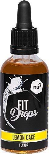 nu3 Fit Drops Aromi - Aroma Liquido Alimentare 50 ml - Gocce Aromatizzanti/Dolcificanti Senza Zucchero con Sucralosio - Preparato Aromatizzante Gusto Lemon Cake - Vegetariano