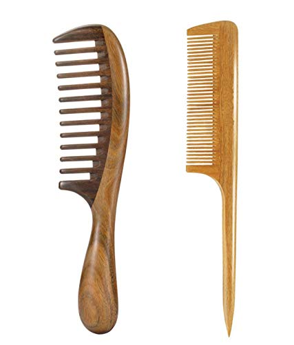 Louise Maelys Hair Comb Wooden Wide Tooth Comb for Curly Hair Detangling Sandalwood Comb