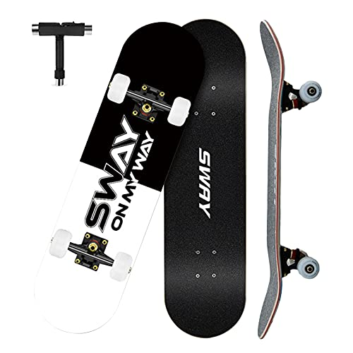 VOMI Patineta Skate Niños, Skateboard Completo para Principiantes, 79 x 20,5 cm 7 Capas Monopatín de Madera de Arce Tabla Doble Patada, Skateboard para Niñas Niños Adolescentes Adultos