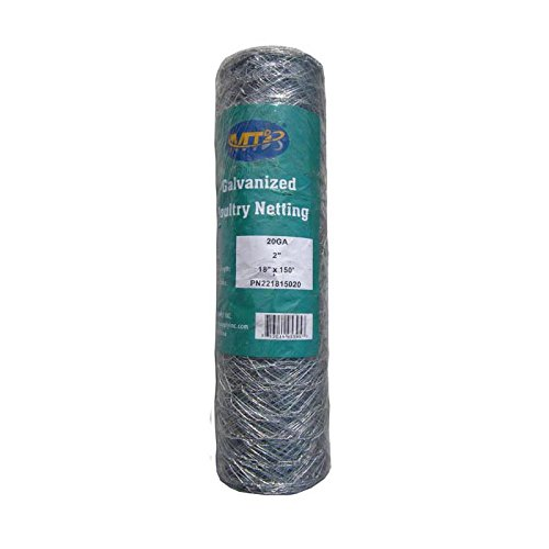 MTB 20GA Galvanized Hexagonal Poultry Netting Chicken Wire 18 inches x 150 feet x 2 inches Mesh