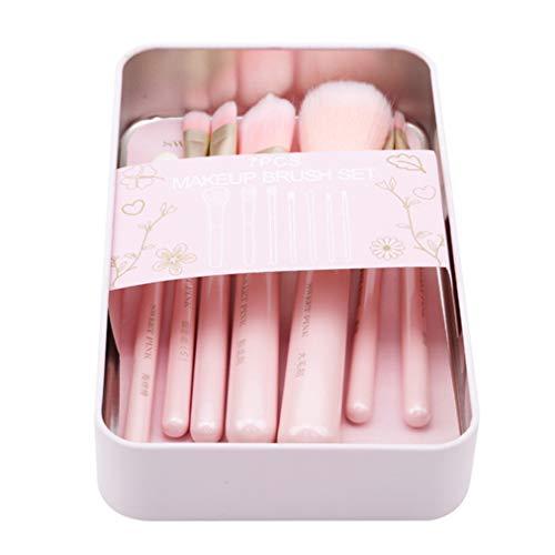 Sevenfly 7PCS Sweetheart Beauty Makeup Tool Set Multifonction Maquillage Brush Foundation Pinceau Pour Femmes Filles, Rose