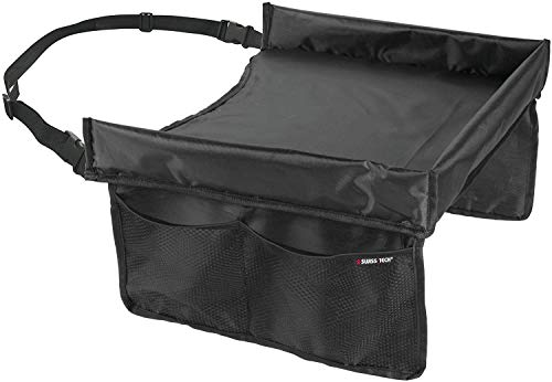 Swiss+Tech ST80250 Waterproof On-The-Go Travel Tray for Kids Lap Desk Organizer Snacks and Activities for Car Airplane Adjustable Strap & Buckle Sturdy Walls 4 Storage Pockets – Black