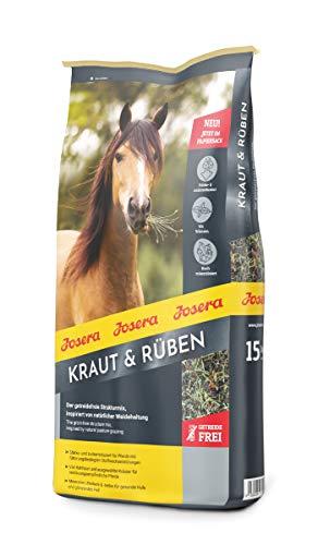 JOSERA Kraut & Rüben, Premium Pferdefutter ohne Getreide mit natürlichen Kräutern, zucker und stärkereduziert, Strukturmix für Pferde, 1er Pack, (1 x 15 kg)