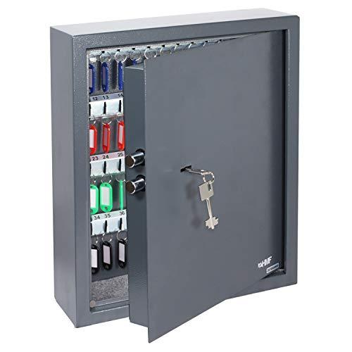 HMF 2971-11 Schlüsseltresor mit Doppelbartschloss | 71 Haken | 46 x 36 x 12 cm | Anthrazit