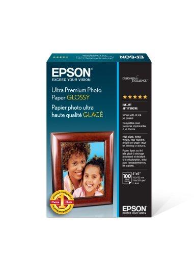 Epson Ultra Premium Photo Paper Glossy - S042174, 4' x 6' (100 sheets),White
