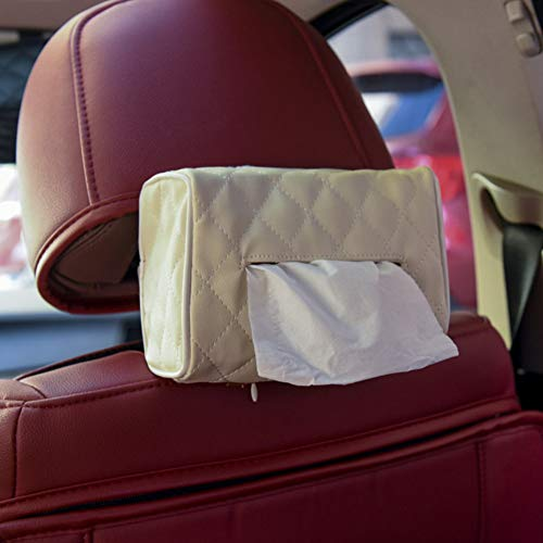 Star Supermarket auto tissuebox, PU-leer zonneklep stoel hangen creatieve papierhouder autoaccessoires wit