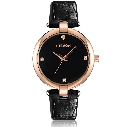 ETEVON Women's Casual Crystal Quartz Leather Watch with Black Dial and Rose Gold Stainless Steel Case, Simple Dress Wrist Watches for Women Ladies