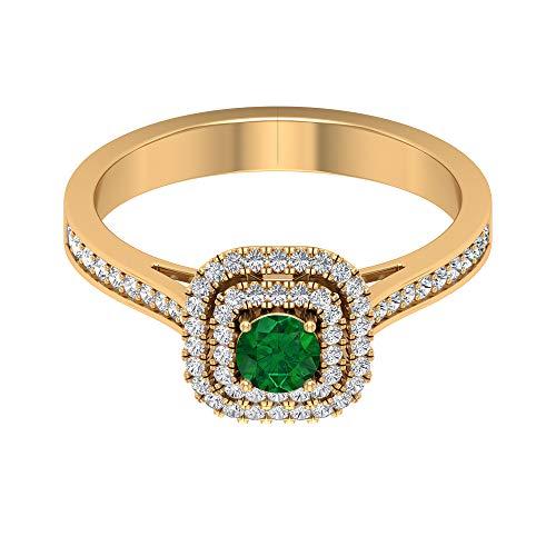 Anillo solitario de esmeralda de 4 mm, anillo de doble halo de diamante HI-SI, anillo vintage de oro (calidad AAA), 14K Oro amarillo, Size:EU 70