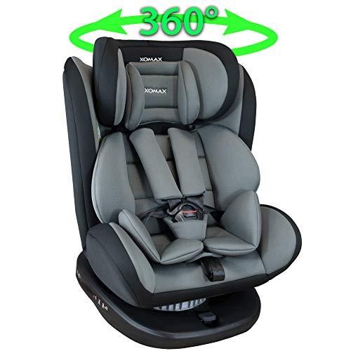 XOMAX 916 Silla de coche Isofix giratoria 360 grados I inclinable I Grupo 0+/1/2/3 I evolutiva 0-36 kg, 0-12 años I Funda extraíble y lavable I ECE R44/04