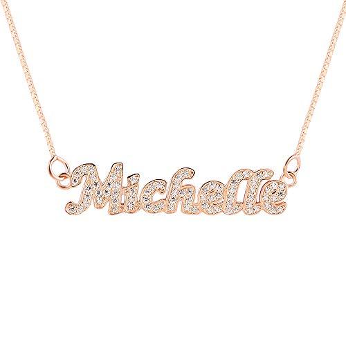 Sterling Zilveren Ketting Geplatineerd Diamanten Hanger Ketting Persoonlijkheid Ontwerp Belettering Ketting Meisje Cadeau