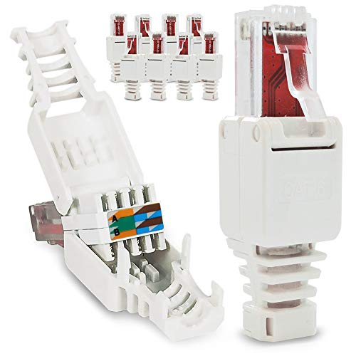 10x Netzwerkstecker werkzeuglos RJ45 CAT6 LAN UTP Kabel Stecker ohne Werkzeug werkzeugfrei CAT5 CAT7 Verlegekabel Patchkabel Netzwerkkabel Toolless Modular Plug Connector Crimpstecker