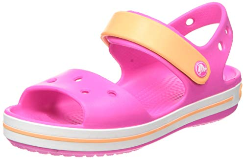 crocs Unisex-Kinder Crocband Kids Outdoor Sandals, Rosa(Electric Rosa/Cantaloupe), C11 (28/29EU)