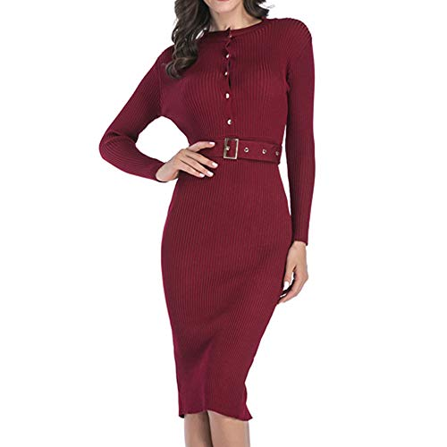 OSYARD Damen Pullover Kleid,Strickpullover,Maxikleid,Dress, Frauen Partykleid Winter Langarm Button Back Split Knielang Abendkleid Sexy Bodycon...
