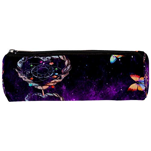 Dreamcatcher and Butterfly in Purple Galaxy Pencil Case Pouch Bag Cute Pen Zipper Bag for Stationery Travel School Student Supplies