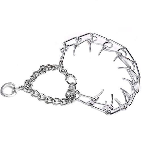 Haustierhalsband, Trainingshundeleine, Trainingshund, verstellbares Kettenhalsband Silber, geeignet für Hunde Aller Größen-M.